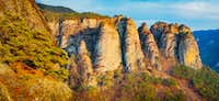 Rocky Cliff Formations in the sunset at Korea's Juwangsan National Park-2