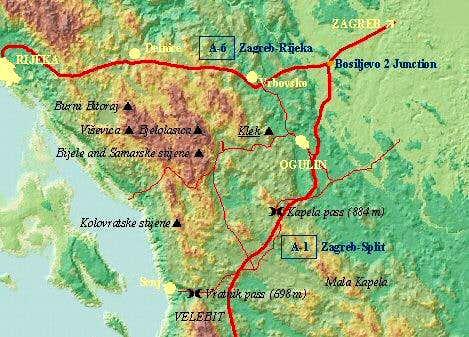 A relief map of Velika Kapela...
