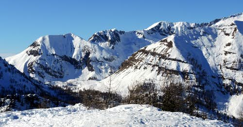 Summits of Southern Adamello group seen from Cima Pissola