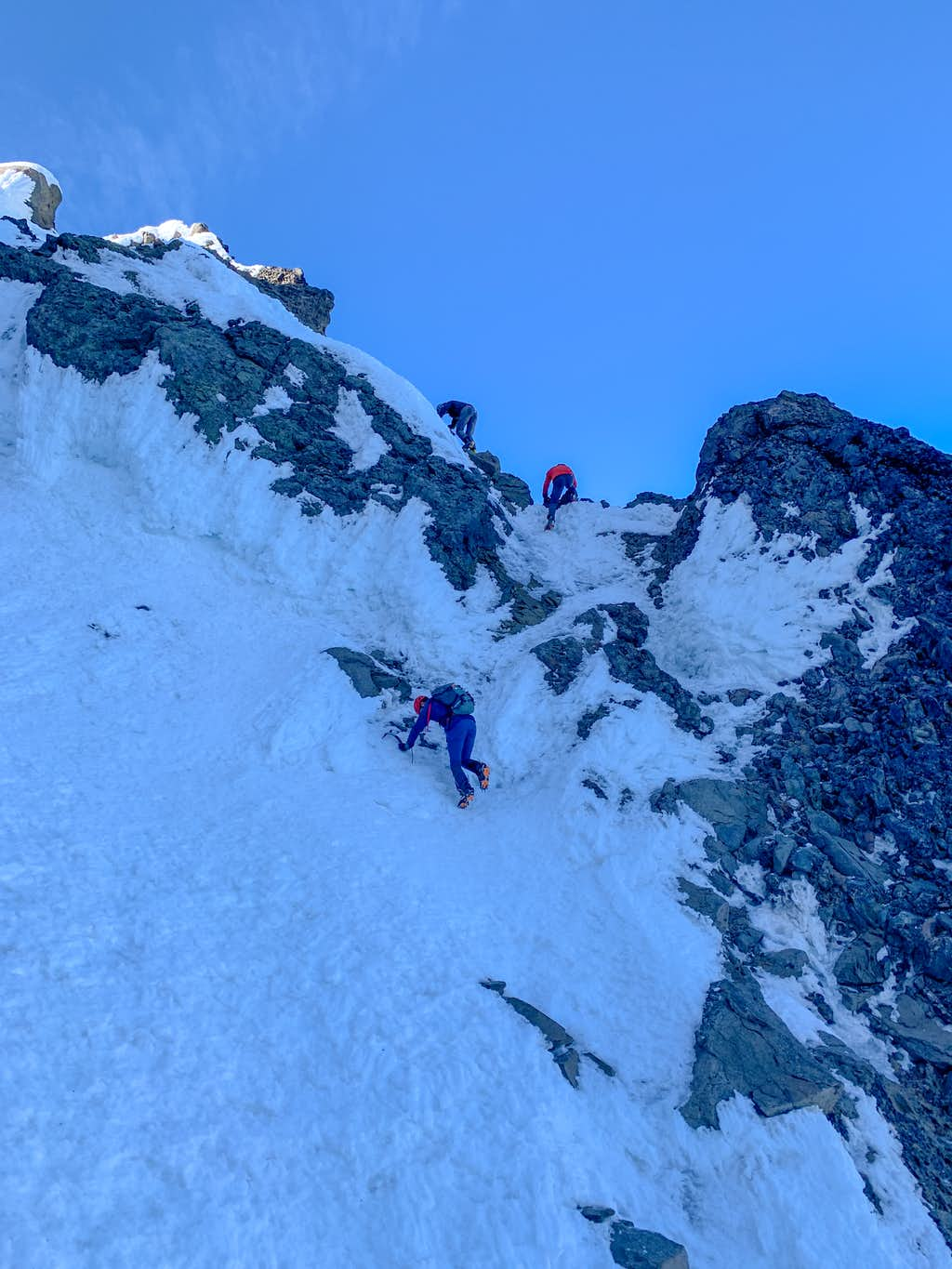 Climbing to the summit of North Sister (crux)