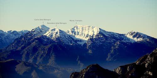 Corno della Marogna and Tremalzo annotated view from Monte Stivo