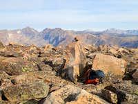 Rock cairn at summit of Snowbank Mtn