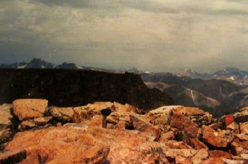 LtoR Granite Pk Castle VABM marker Mt Wood Aug86