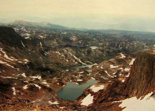 Varve Lk FlatRock Lk and Crystal Lk from summit of Castle Peak