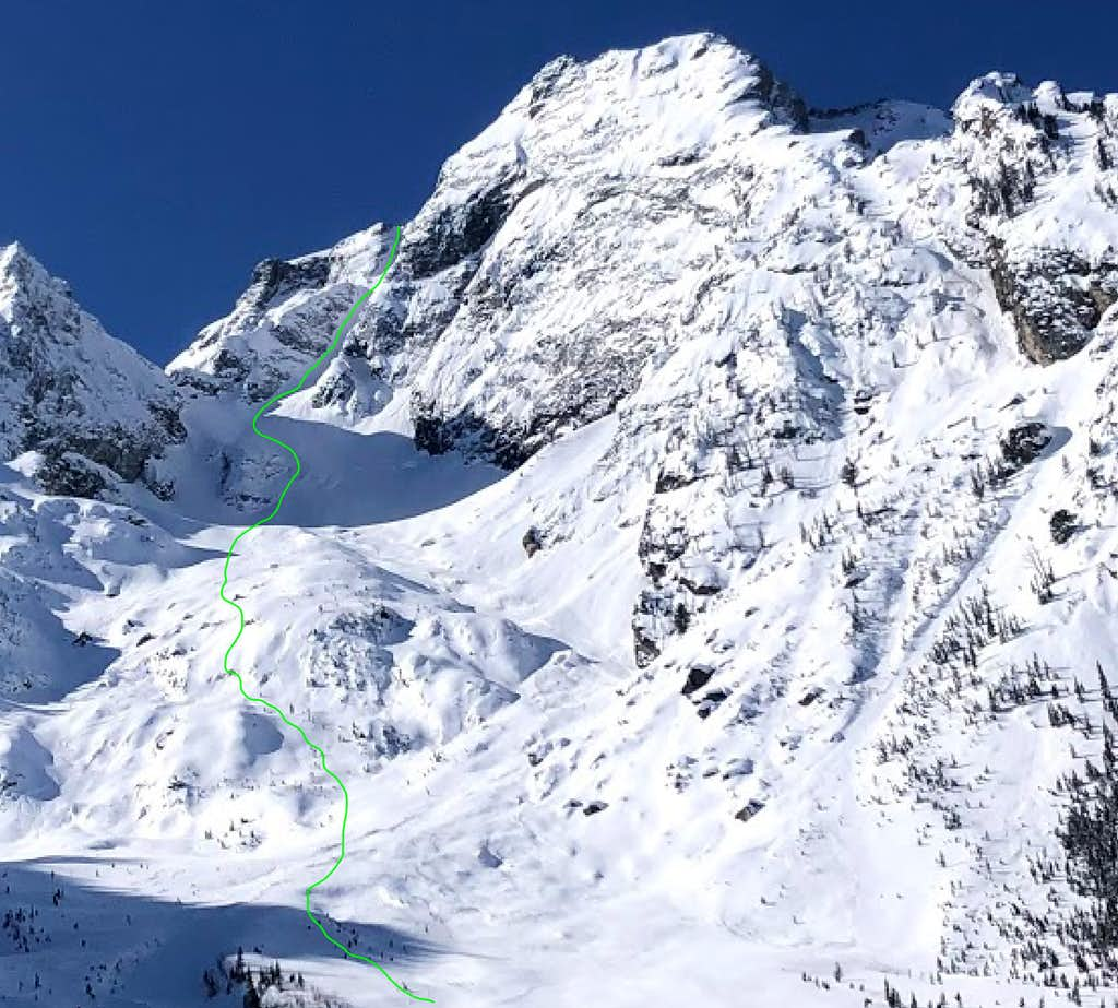 Ski Descent Line - The Skillet - Mount Moran