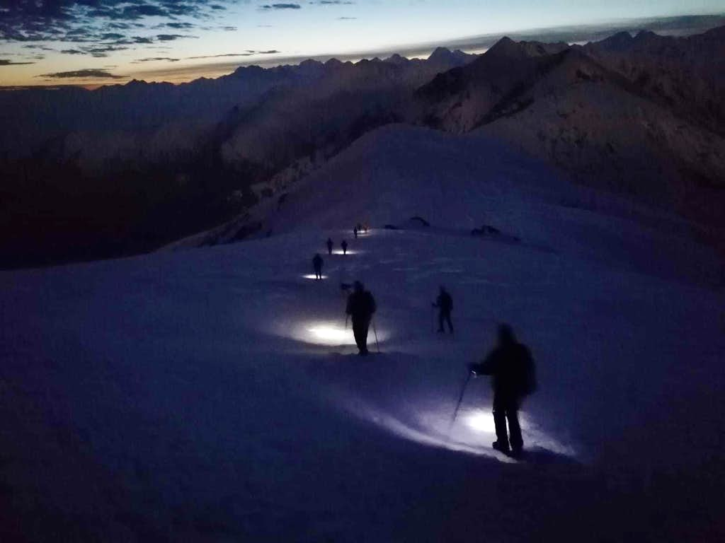 Winter moonlight ascent to Monte Soglio