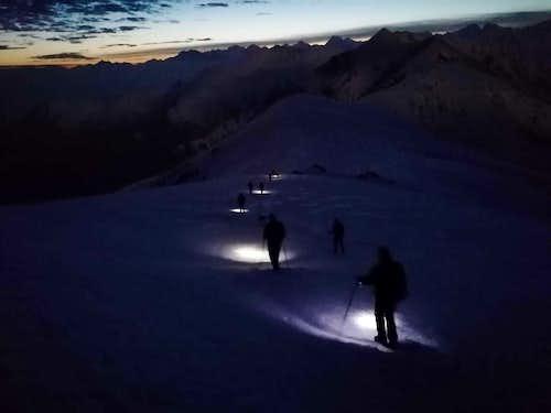 Winter moonlight ascent to Monte Soglio