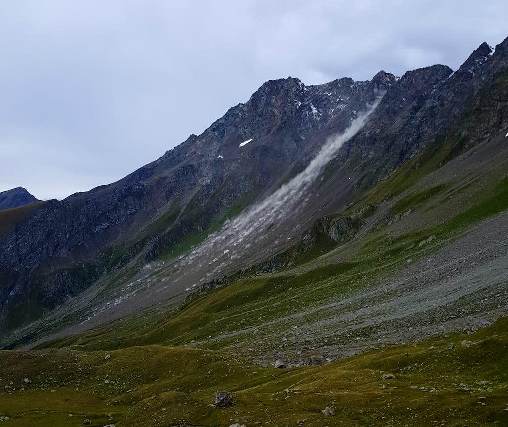 Landslide from Horns of Mont Velan