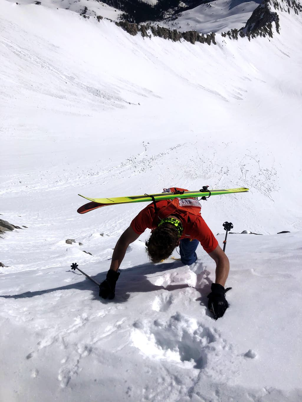 Downclimbing from Snowmass