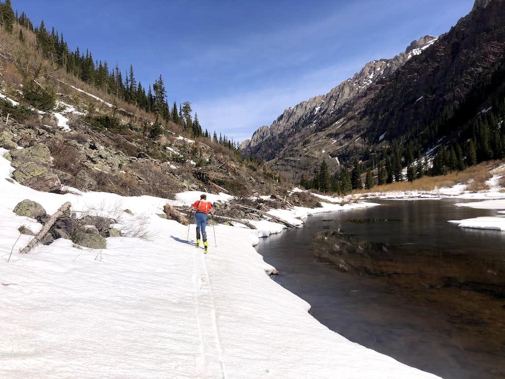 Skiing around the 'Log Jam', Snowmass Creek