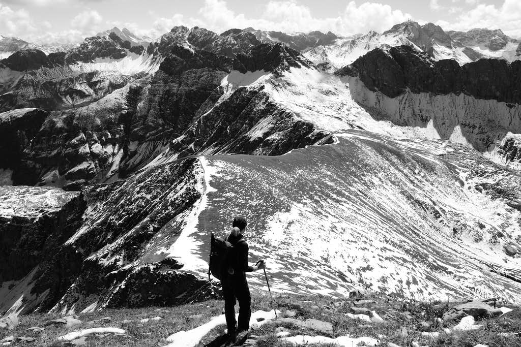 Wosterspitze view. Black and white version.