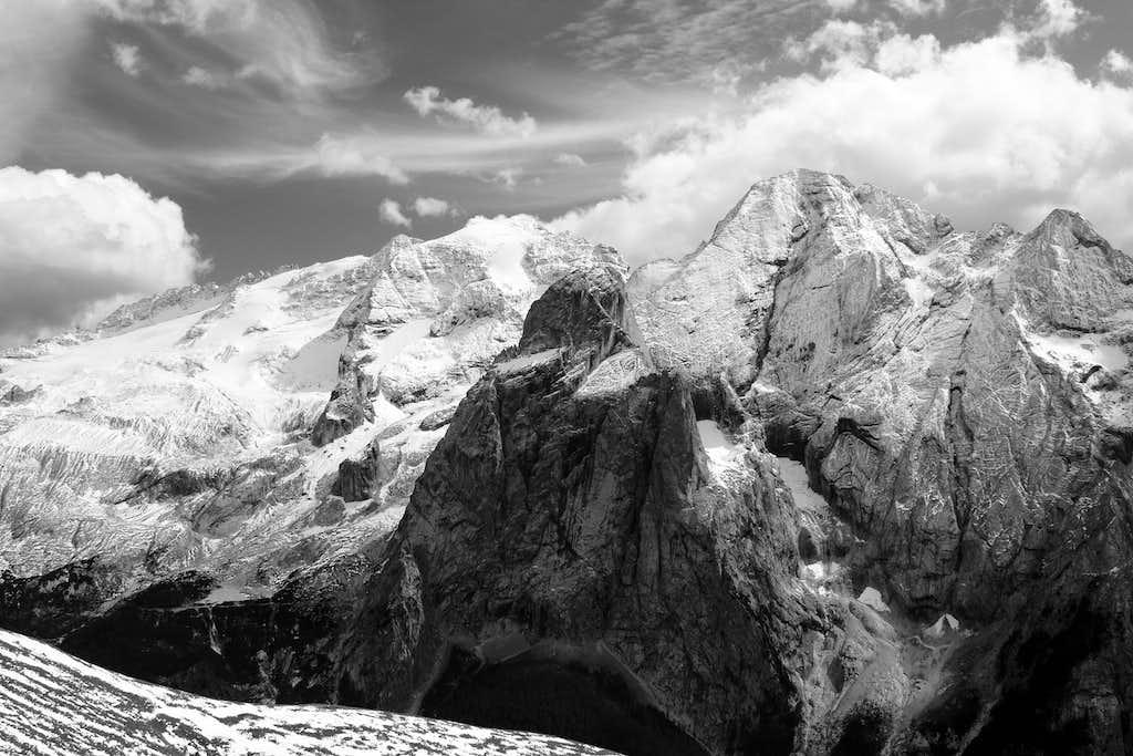 Marmolada (3343m) and the Gran Vernal (3210m)