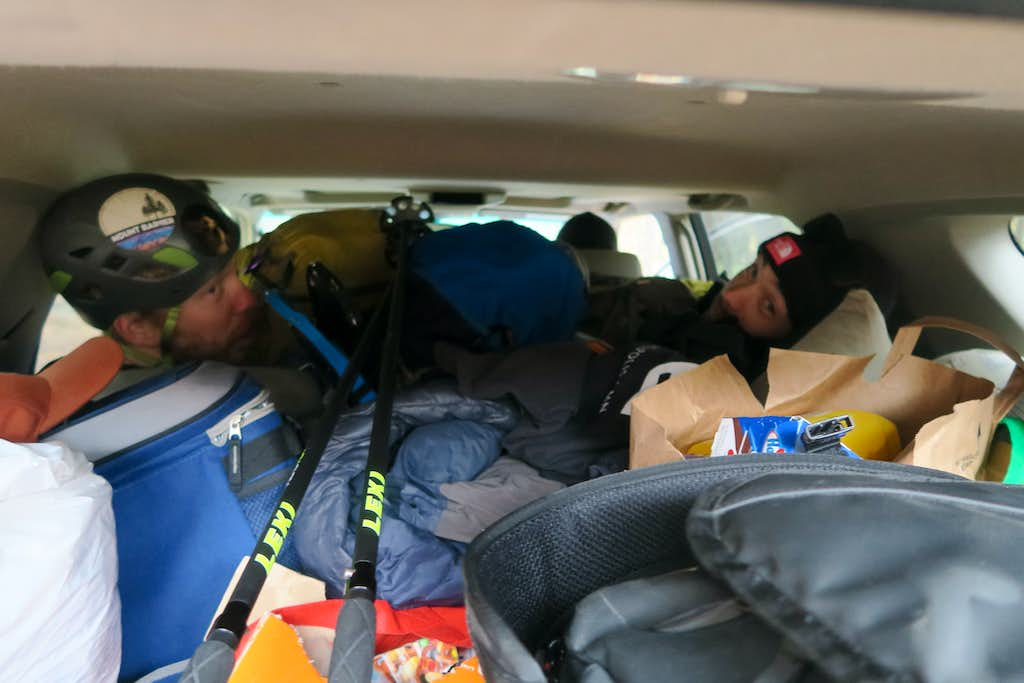Car loaded to the brim on our way to the trailhead