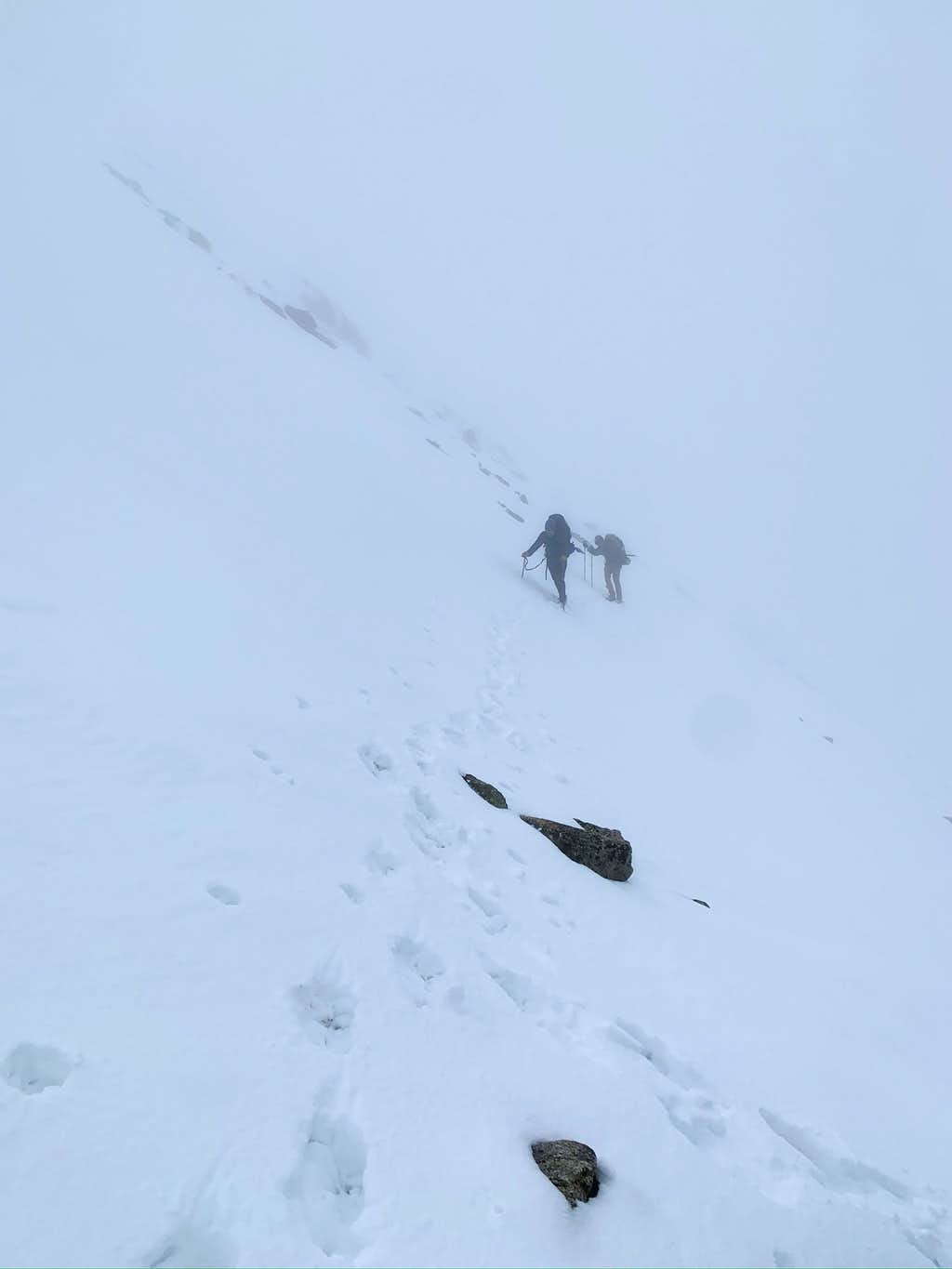 Traverse across snow filled gully unsure if we are on trail or not