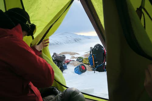 First looks out the tent in AM on FTD plateau