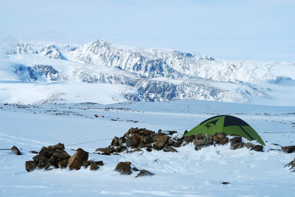 Tent anchored in position at base of Tempest
