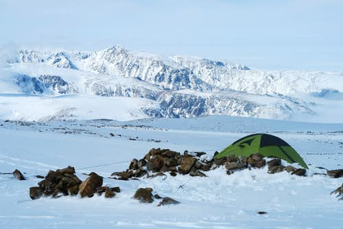 Tent anchored in position at base of Tempest.