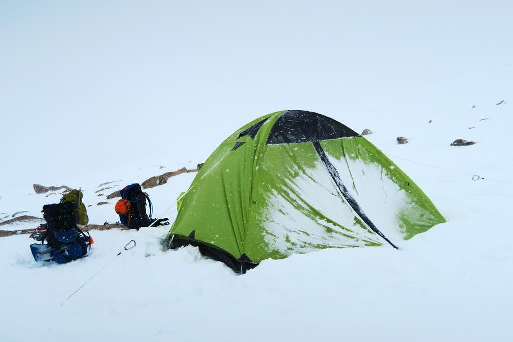 Snow accumulating on the wall of tent the morning after first night on FTD