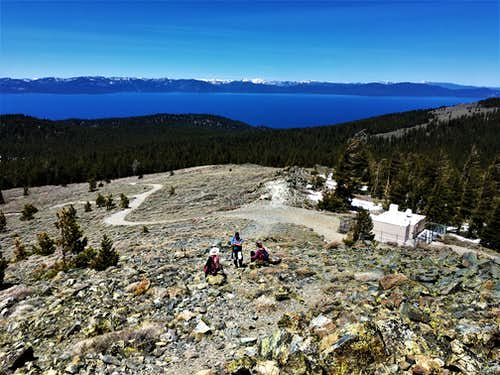 View down to Lake Tahoe from just below the summit