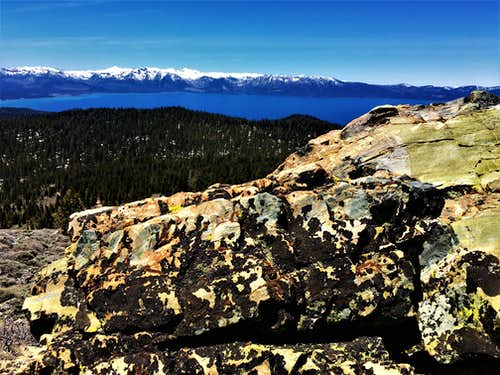 View to Lake Tahoe and the Desolation Wilderness from the summit