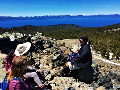 At the summit looking down to Lake Tahoe
