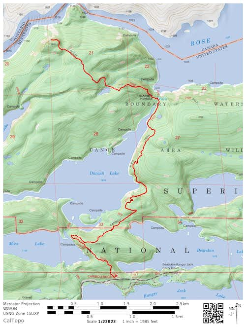 Caribou Rock Trail to Border Route and Rose Cliffs