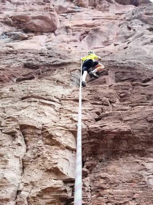 Kessler climbing at Rotary Park, Ouray