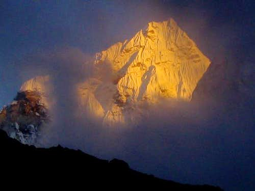Ama Dablam at sunset, viewed...