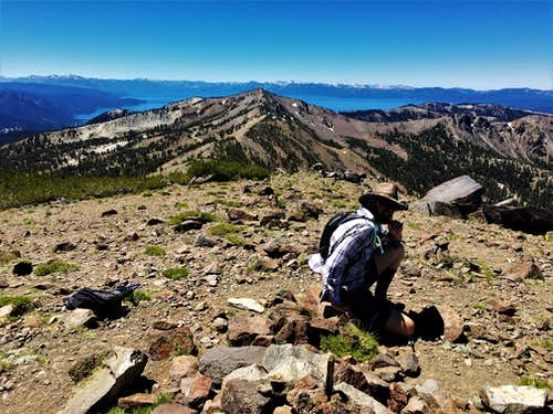 View towards Relay Peak and Lake Tahoe from the summit 7-5-2020