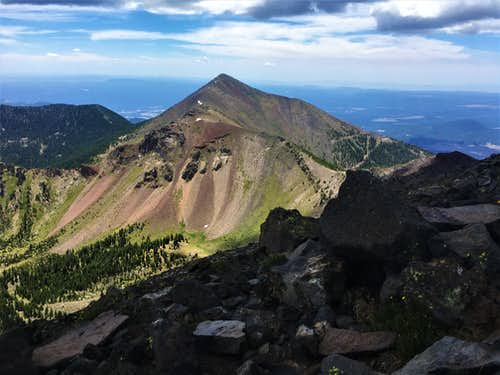 View to Agassiz Peak from the ridge to Humphreys Peak