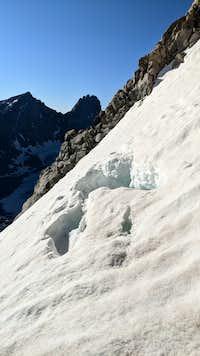 The melting snow bridge of Gannett Peak's bergschrund - July 17, 2020