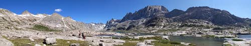 Pano image of the Titcomb Basin in the Wind River Range, July 2020