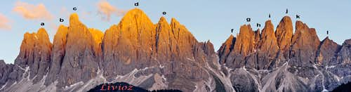 Labeled summits of Odle/Geislergruppe at sunset from Val di Funes/Vilnössertal