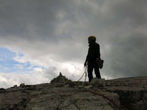 Summit of Torre Grande within the storm