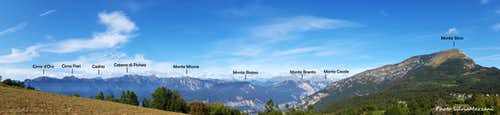 Wide annotated panorama from Monte Creino