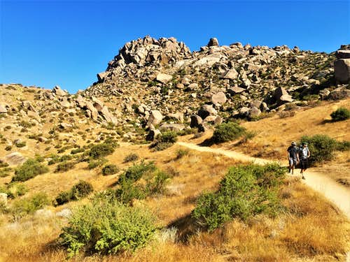 Descending the Tom's Thumb Trail with gorgeous rocky scenery