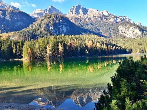 Brenta Dolomites mirroring on Lago di Tovel