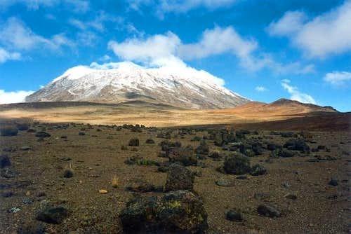 Kilimanjaro saddle and Kibo...