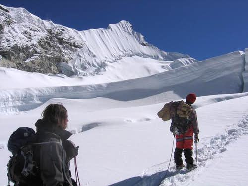 On the glacier, walking...
