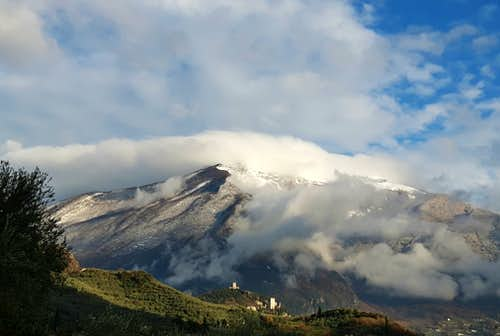 Fresh snowfall on Monte Stivo seen from Arco di Trento