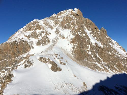 The Southwest Couloir of the Middle Teton in winter