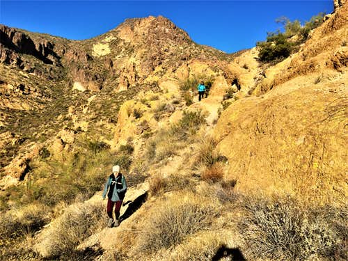 Descending the use trail with Dome Mountain in view