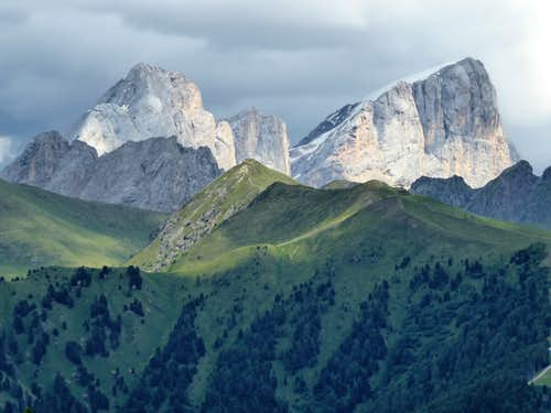 Western view of the mighty South Wall of Marmolada from the surrounding of Ciampediè