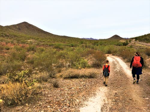 Walking back on the dirt road with Francis Roberts Mountain on the left