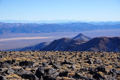 Looking southeast toward the Monitor Range from Mt. Jefferson north summit in Nevada; late Nov. 2020