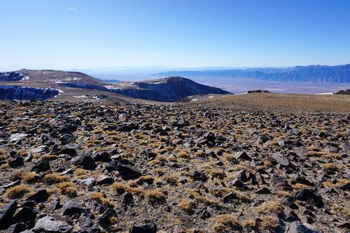 Toiyabe Range's south end as seen from the sprawling mountaintop of Nevada's Mt. Jefferson near the north summit; Late Nov. 2020