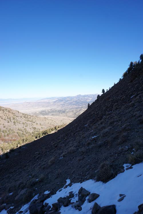 Ascending a steep northern section of Nevada's Mt. Jefferson; late Nov. 2020