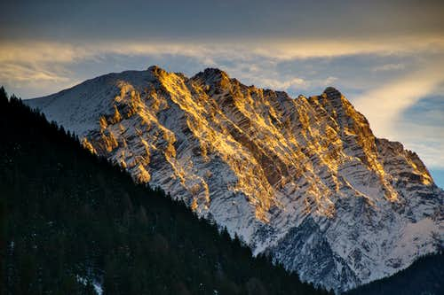 The west face of the Watzmann in evening gold