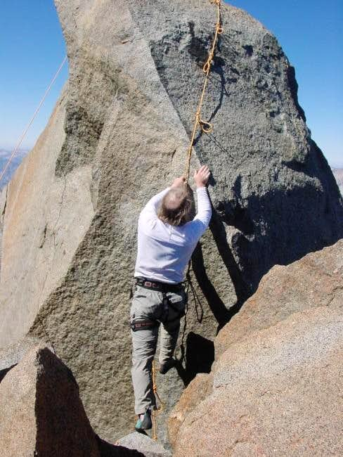 The climber uses loops in the...