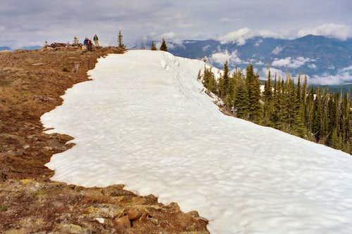 Snow cornice on the north...